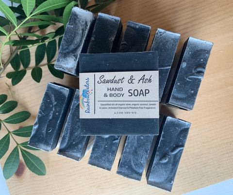 Sawdust & Ash, Handcrafted Wool Soap Bar, with activated charcoal