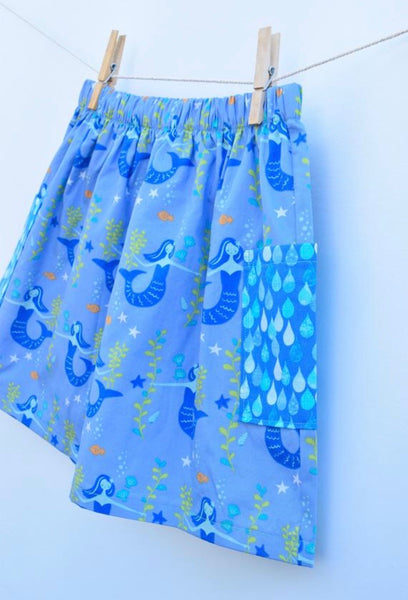 Merfriends Farm Skirt w/ double pockets, 100% Organic Cotton