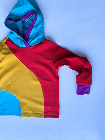 Size 2T, Retro Colorblock Crazy Raglan Hoodie with cuffed long sleeves