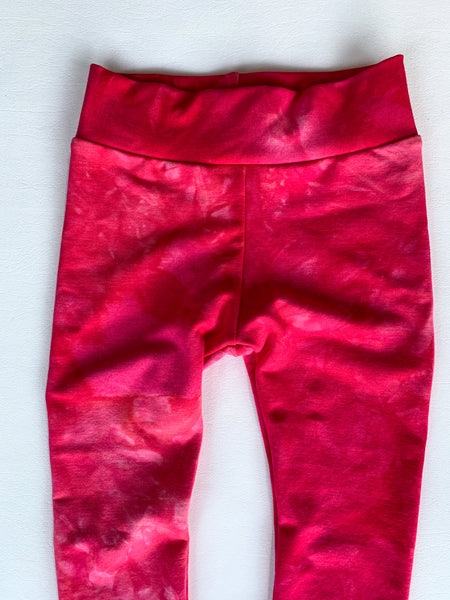 Fire Red tie dye organic bamboo leggings