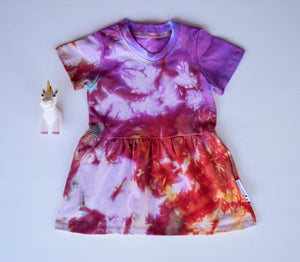 Size 2t, Phoenix Rising, LWI Tie Dyed, play dress, short sleeves