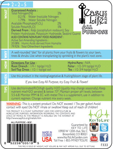 Easy All Purpose - Back Label