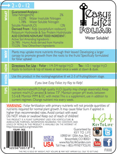 Easy Foliar - Back Label