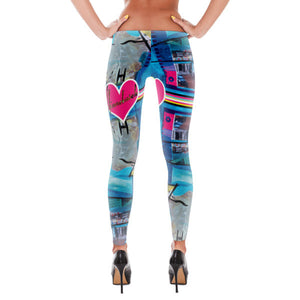 Blue Wave Hot Heart Leggings - Hinneline - David Hinnebusch Artwork & Designs