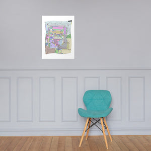 Paisley Dungeon Map Flag - Premium Luster Photo paper poster