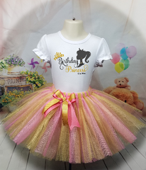 Princess Silhouette Birthday Outfit, Tutu & Shirt