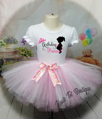 Girl Silhouette Birthday Outfit, Tutu & Shirt