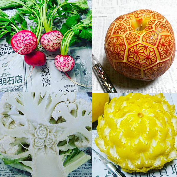 Food Carving, Goku, Vegetable flowers, Fruit flowers, Fine art, vegetable art, designer jewelry