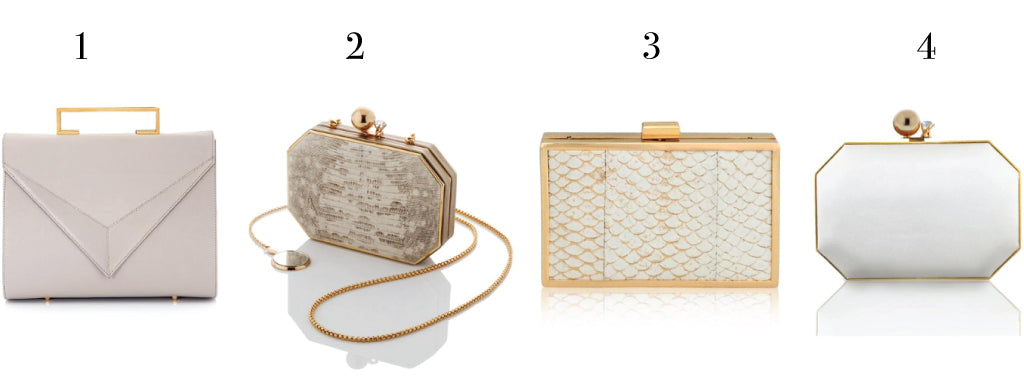White and off-white clutches