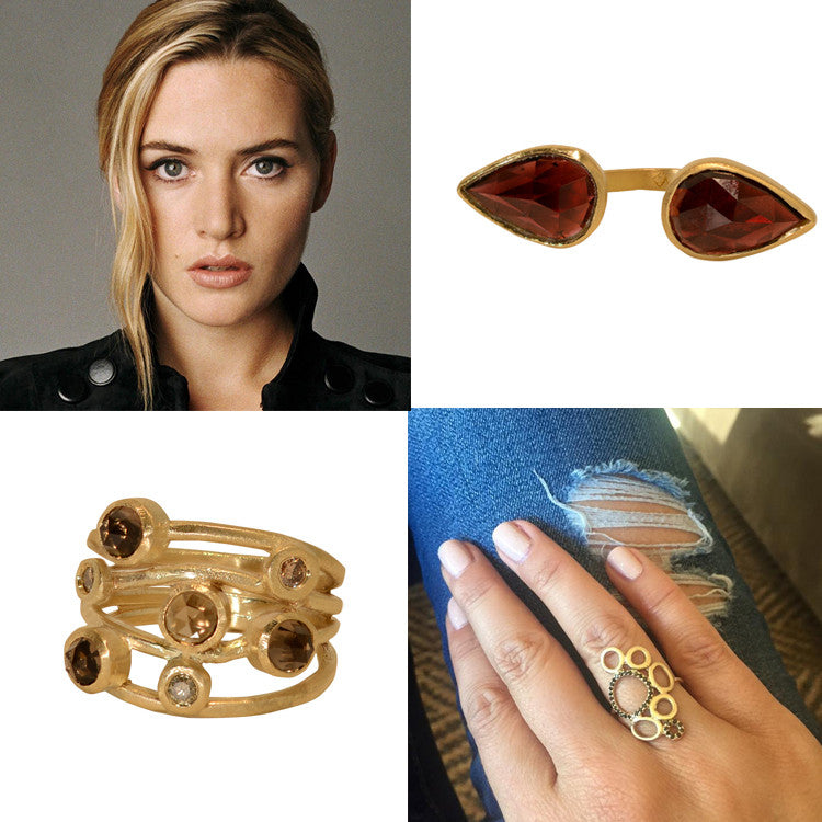 Gold rings, unusual rings, gold stacking ring, semi precious stone rings, unique jewelry, Kate Winslet, Mothers Day Gifts