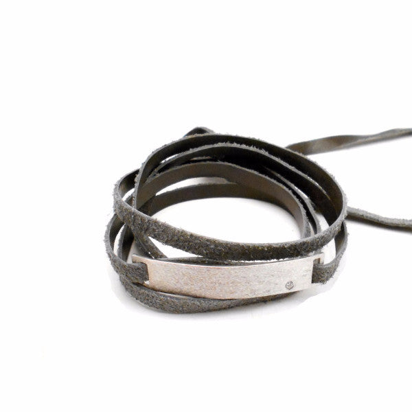 Linear Leather Wrap Bracelet/Choker with Diamond - Bracelets