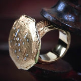 18K Gold Large Nailhead Diamond Ring - Fine Jewelry