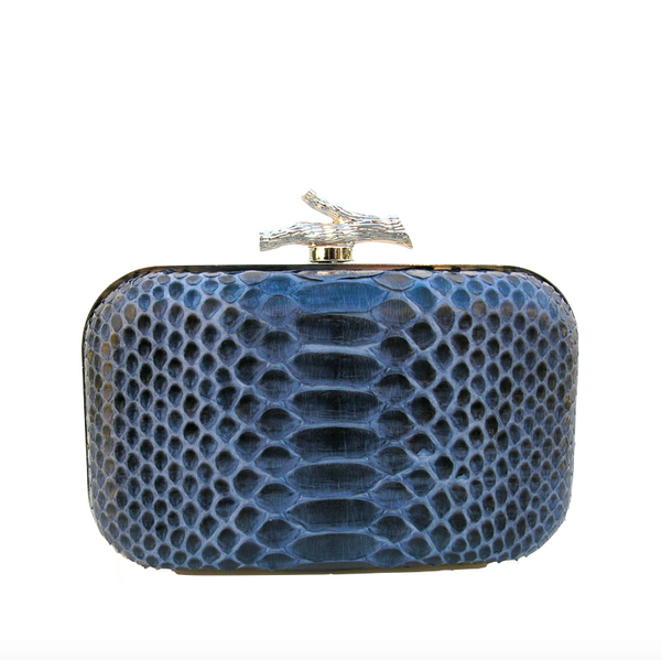 Amphelia Cobra Skin Blue Minaudière Clutch Bag - Clutches