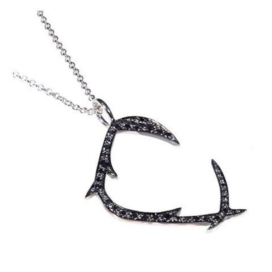 14K White Gold C Necklace with Black Diamonds