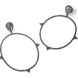 Black Diamond Spiked Hoop Earrings - Fine Jewelry