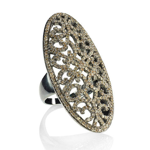 Edgy Champagne Diamonds Full Finger Ring - Fine Jewelry