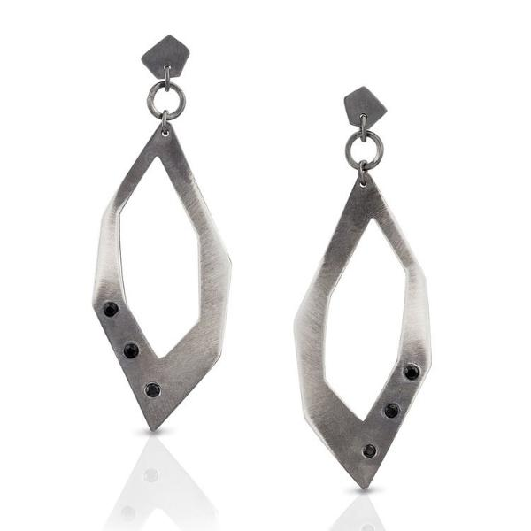 Sterling Silver and Black Spinel Coda Earrings - Earrings