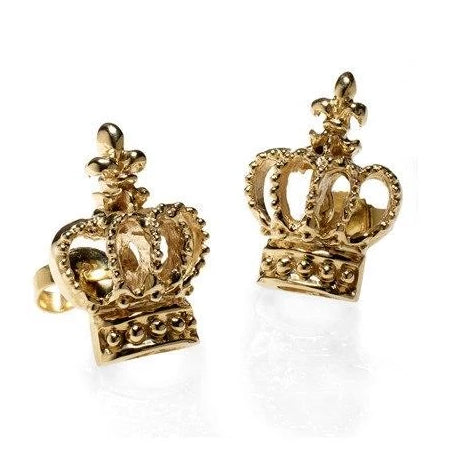 14K Yellow Gold Crown Stud Earrings - Earrings