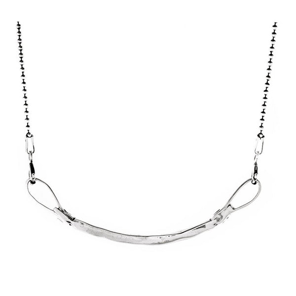 Sterling Silver Curved Bar Necklace - Necklaces