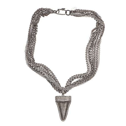 Ancient Shark Tooth Chain and Diamonds Necklace - Fine Jewelry