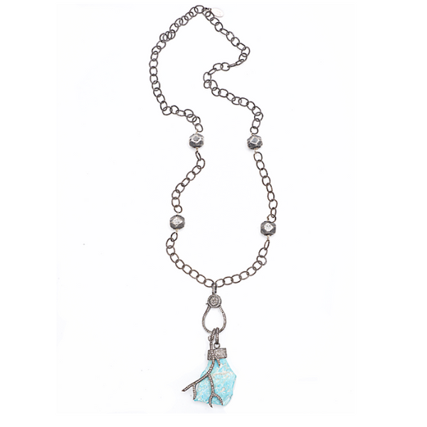 Turquoise and Diamond Chain Necklace