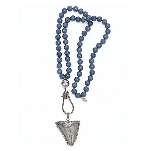 Ancient Shark Tooth Diamond Necklace - Fine Jewelry