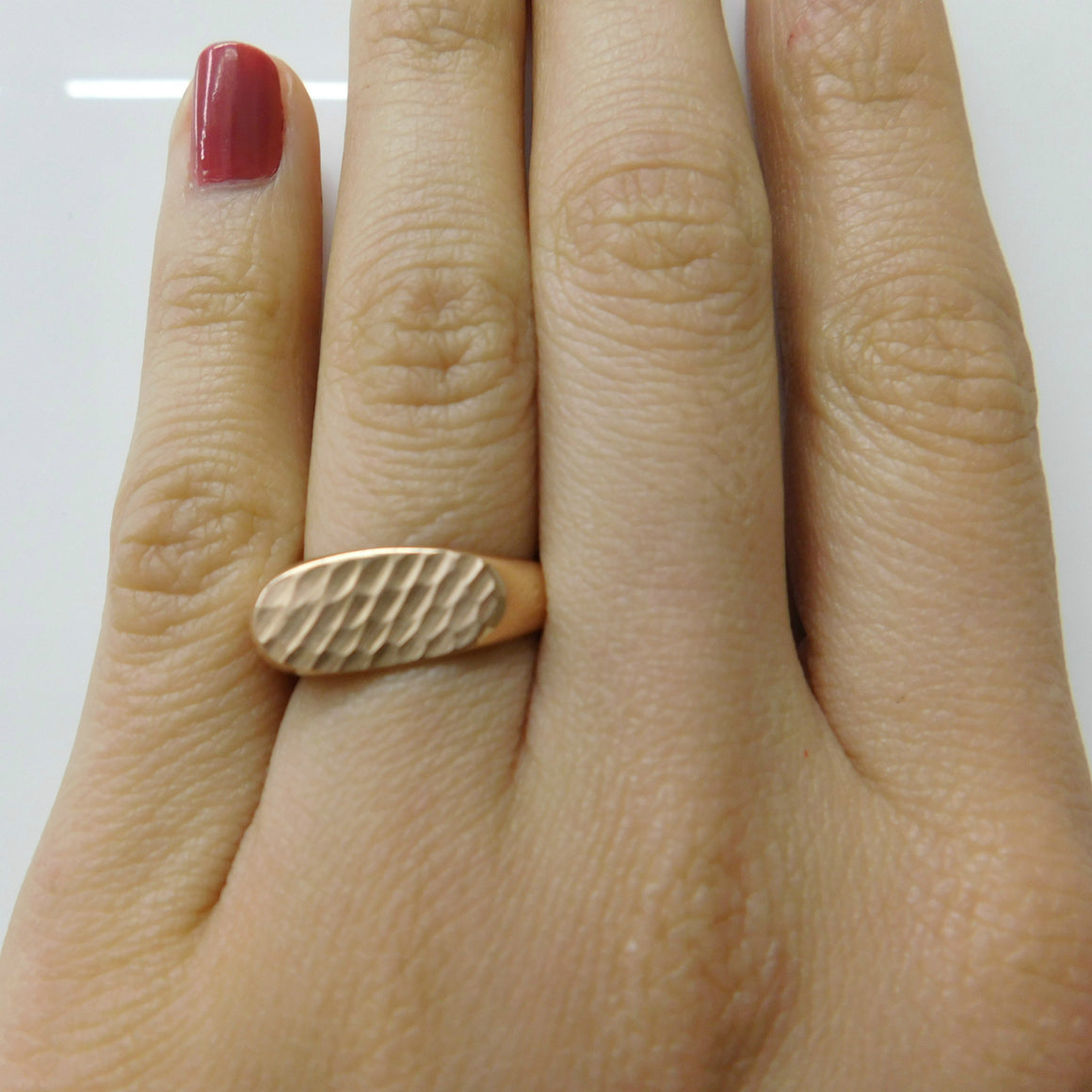 Hammered Top Lipstick Ring - Fine Jewelry