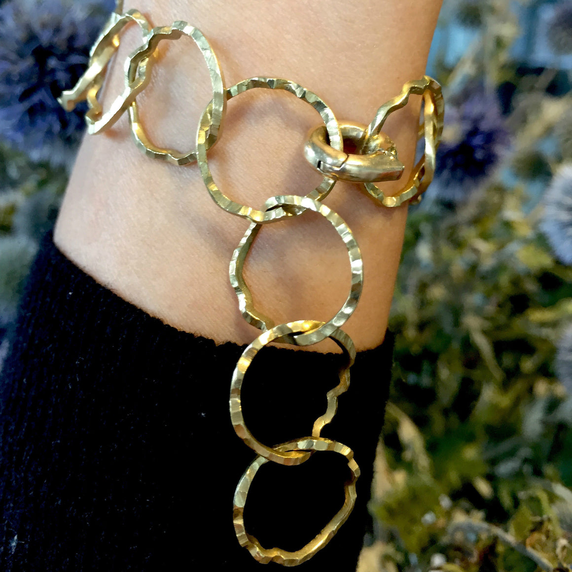 Hammered Lily Chain Bracelet
