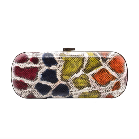 Red Exotic Skin Minaudiere Clutch