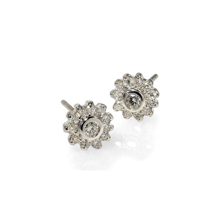 Diamond Cluster Stud Earrings - Fine Jewelry