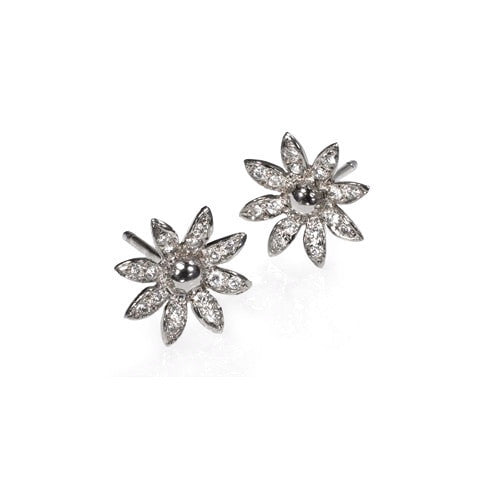 14K White Gold Diamond Flower Stud Earrings - Fine Jewelry