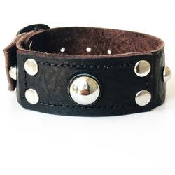 Dome Rivet Leather Cuff Bracelet - Bracelets