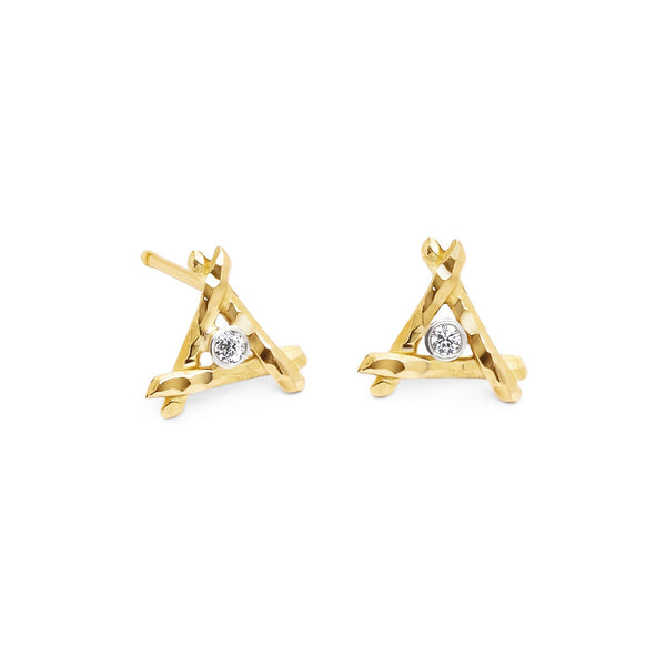 Center Diamond Tiny Trina Stud Earrings - Earrings