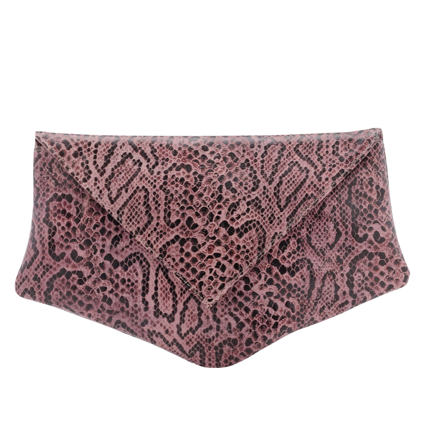 Embossed Leather Burgundy Kore Clutch Bag - Clutches