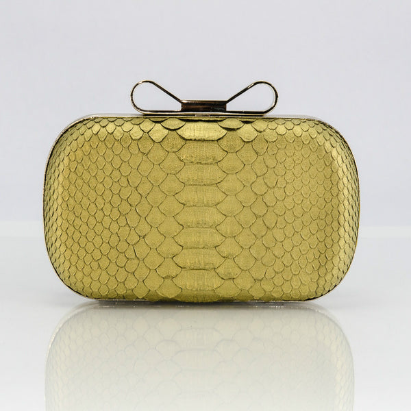 Gold Exotic Skin Minaudiere Clutch - Clutches