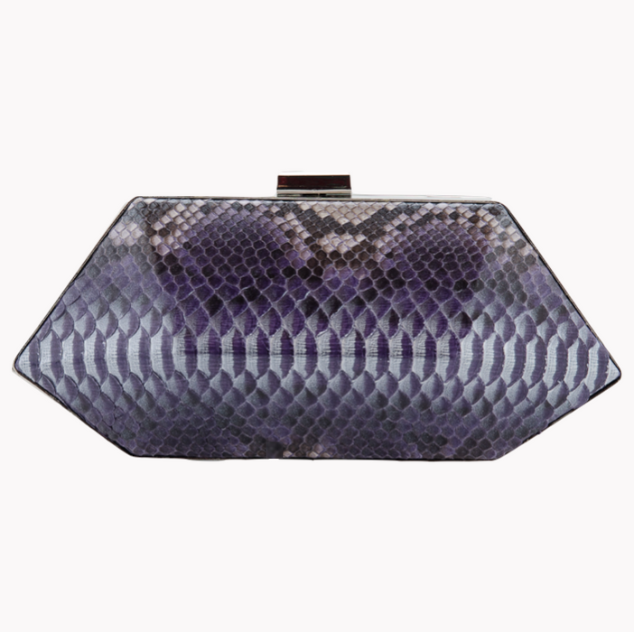 Hand Painted Black Exotic Skin Minaudiere Clutch - Clutches