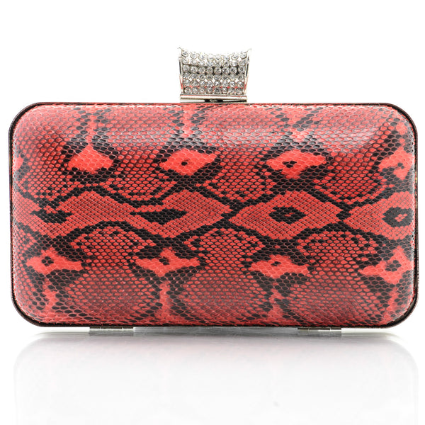 Red Exotic Skin Minaudiere Clutch - Clutches