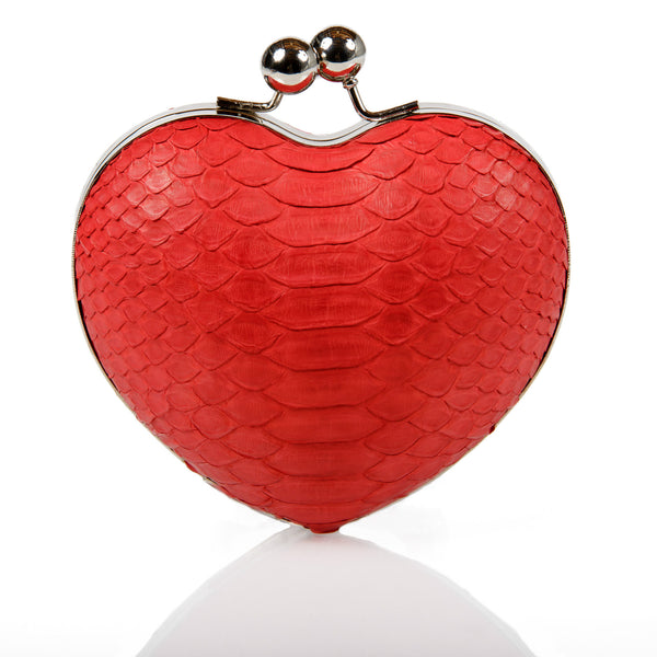 Red Heart Exotic Skin Minaudiere Clutch - Clutches