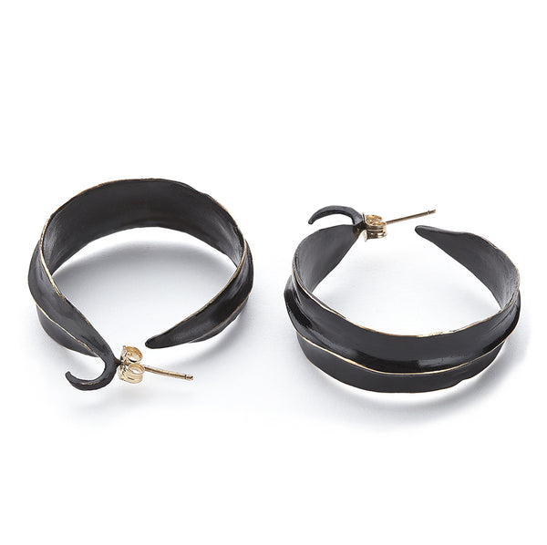 Black Leaf Bronze Hoop - Earrings