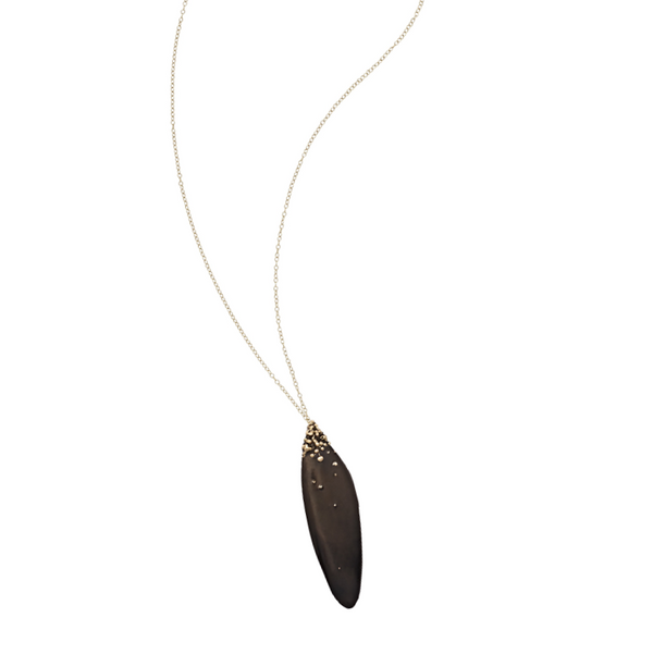 Black Salvia Bronze Necklace - Necklaces