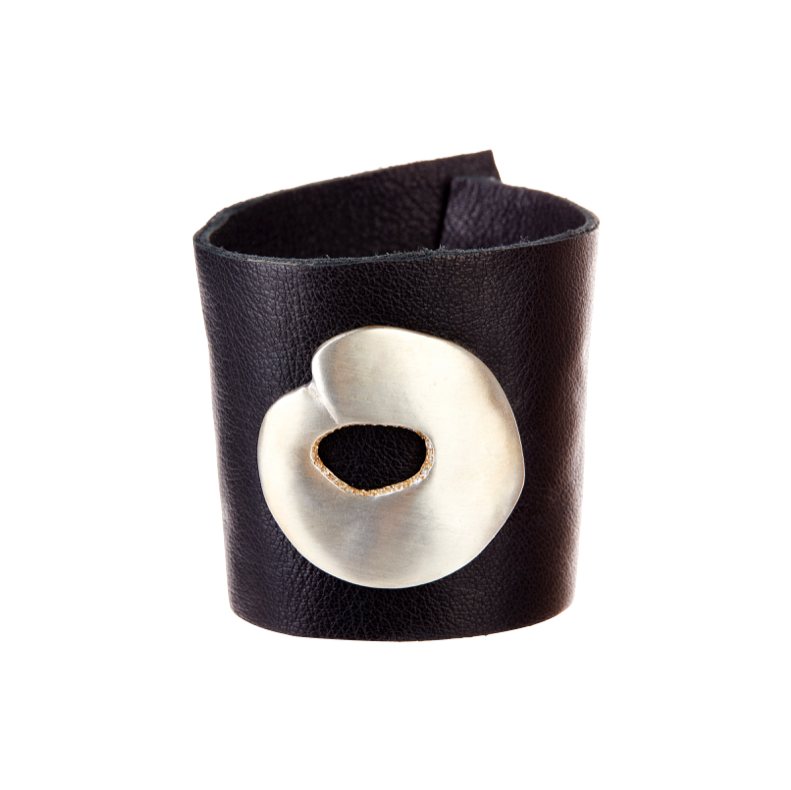 Sterling Silver O Leather Black Cuff