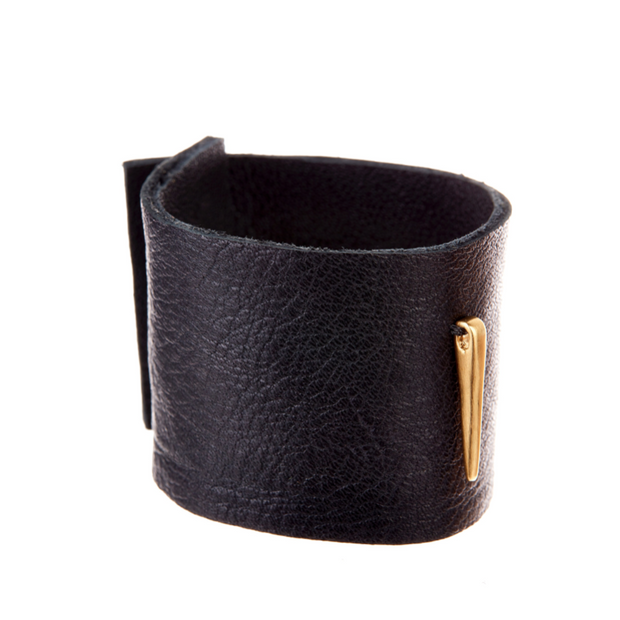 Black Leather Cuff with 18K Yellow Gold - Bracelets