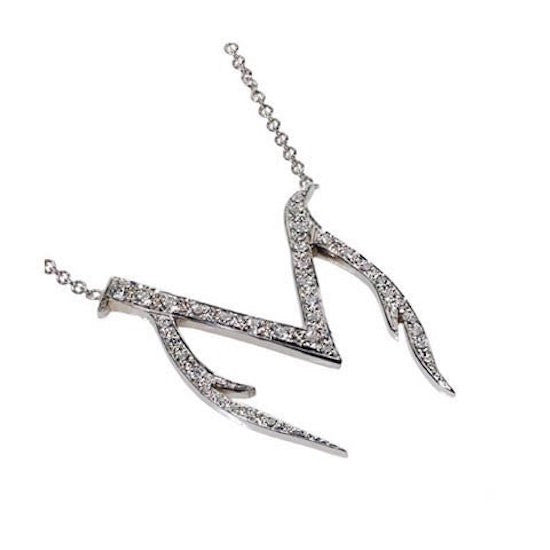 14K White Gold Initial M Necklace with White Diamonds