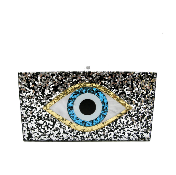Mati Evil Eye Black Acrylic Minaudiere Clutch Bag - Clutches
