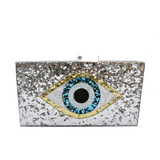 Mati Evil Eye Silver Acrylic Minaudiere Clutch Bag - Clutches