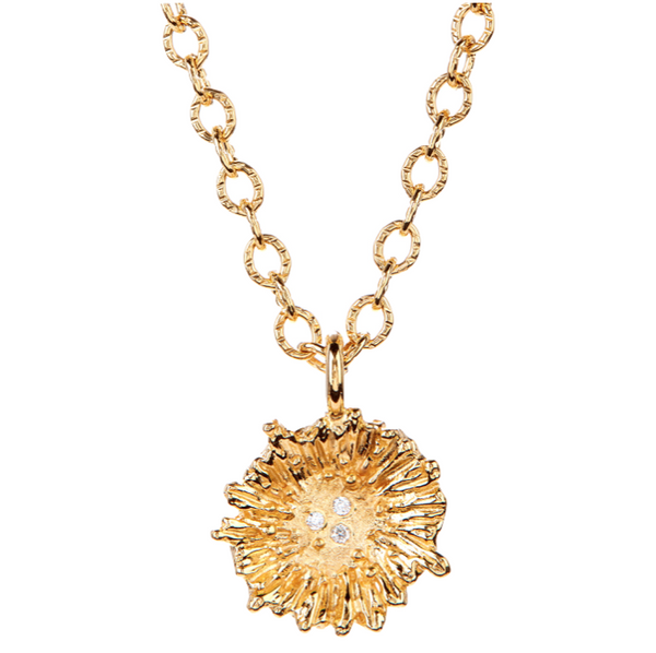 18K Gold Ruffle Necklace with white Diamonds - Jewelry