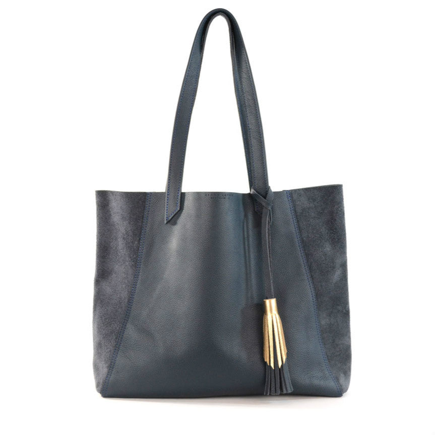 Leather June Tote in Bluestone