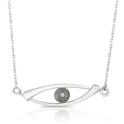 Sterling Silver and Diamond Occulus Necklace - Necklaces