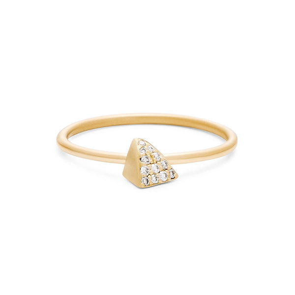18K Yellow Gold Diamond Tiny Triangle Stacking Ring - Fine Jewelry