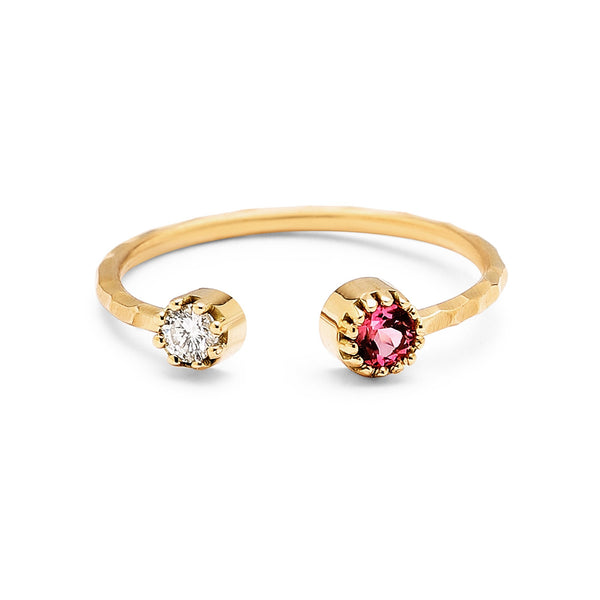 Open Ring with White Diamond & Pink Tourmaline in Pronged Bezels - Fine Jewelry